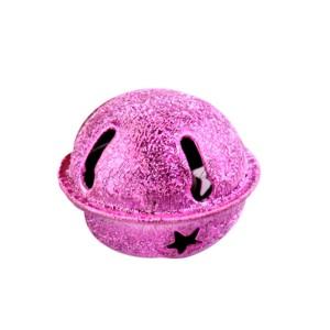 Grelot givré coloris rose étoile Noel 24mm