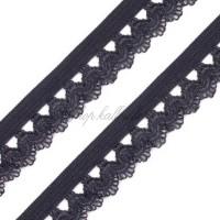 Elastique dentelle, coloris noir, motif D, 15mm