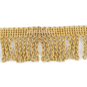 Passementerie Galon à franges or, tresses dorées, 40mm