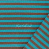 Tissu jersey Kiyohara rayé coloris Bleu turquoise et marron (x 25 cm)
