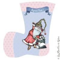 Panneau tissu Minky botte de Noël, designer Les Moutons de Kallou 21 cm de hauteur