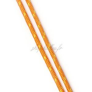 Cordon en polyester rayé, orange et jaune 3mm