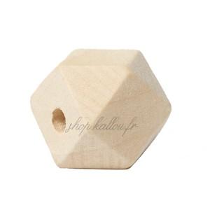 Perle géométrique en bois naturel, à facettes, 20 mm (lot de 5)