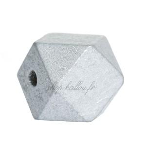 Perle géométrique en bois coloré argent, à facettes, 20 mm (lot de 5)