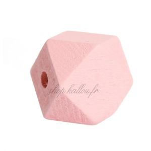 Perle géométrique en bois coloré rose pâle, à facettes, 20 mm (lot de 5)