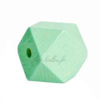 Perle géométrique en bois coloré vert pomme, à facettes, 20 mm (lot de 5)