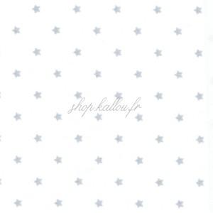 Tissu coton, Popeline blanche, petites étoiles gris clair