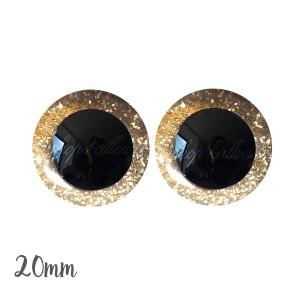 Yeux sécurité brillants or jaune doré 20mm pour peluche, pupille ronde , rondelle emboîtante (1 paire)