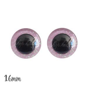 Yeux de sécurité brillants rose pâle 16mm pour peluche, pupille ronde (1 paire)