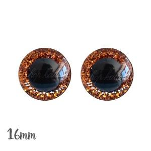 Yeux de sécurité brillants orange 16mm pour peluche, pupille ronde (1 paire)