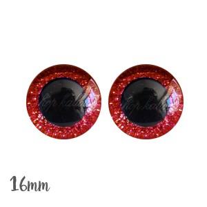 Yeux de sécurité brillants rouge 16mm pour peluche, pupille ronde (1 paire)