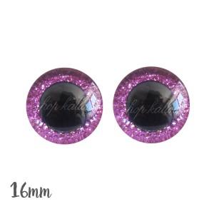 Yeux de sécurité brillants rose fushia 16mm pour peluche, pupille ronde (1 paire)