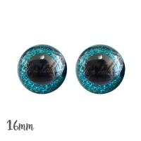 Yeux de sécurité brillants bleu turquoise 16mm pour peluche, pupille ronde (1 paire)