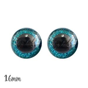 Yeux de sécurité brillants bleu turquoise 16mm pour peluche, pupille ronde, rondelle emboitante (1 paire)