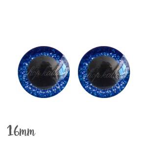 Yeux de sécurité brillants bleu marine 16mm pour peluche, pupille ronde (1 paire)