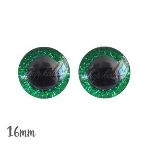 Yeux de sécurité brillants vert 16mm pour peluche, pupille ronde (1 paire)