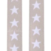 Élastique plat étoiles au mètre, 20 mm coloris beige