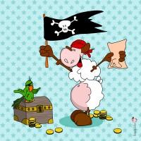 Panneau Pirate au coffre, designer Les Moutons de Kallou 26 x 26 cm