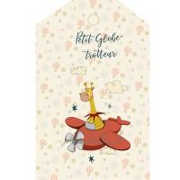 """Panneau grande etiquette, girafe en avion """"Petit Globe Trotteur"""", designer Les Moutons de Kallou 13 x 20,5cm"""