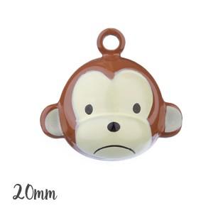 Grelot singe kawaii 20mm,coloris marron, à l'unité