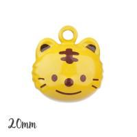 Grelot tigre kawaii 20mm,coloris jaune, à l'unité