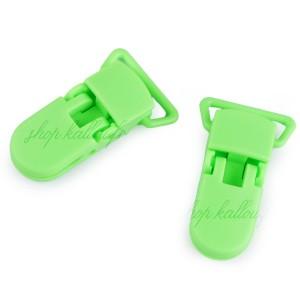 Pince attache Tétine plastique, coloris vert fluo (2 pièces)