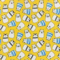 Tissu PUL imperméable, chats coloris jaune, oeko tex (x 25cm)