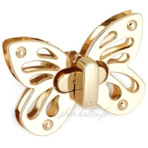 Grand Fermoir papillon or pour sac, verrou papillon 51 x 36 mm