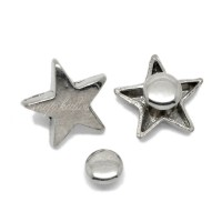 Rivet argenté en forme d'étoile, 16mm. Lot de 5.