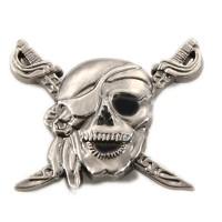 Très grand Rivet argenté tête de mort pirate, 36mm x 30mm, à l'unité