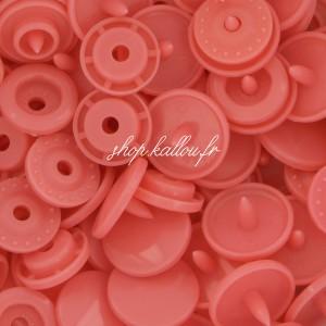 Pression Kam rond, coloris Rouge corail  (lot de 10)