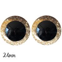 Yeux de sécurité pailleté or 24mm pour peluche, pupille ronde (1 paire)
