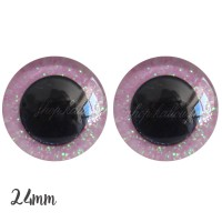 Yeux de sécurité pailleté rose pâle 24mm pour peluche, pupille ronde (1 paire)