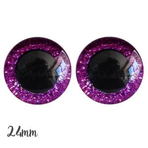 Yeux de sécurité pailleté rose fuschia 24mm pour peluche, pupille ronde (1 paire)
