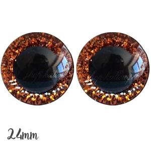 Yeux de sécurité pailleté orange 24mm pour peluche, pupille ronde (1 paire)