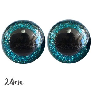 Yeux de sécurité pailleté bleu turquoise 24mm pour peluche, pupille ronde (1 paire)