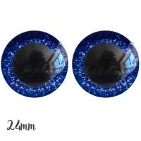 Yeux de sécurité pailleté bleu marine 24mm pour peluche, pupille ronde (1 paire)