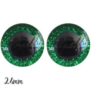 Yeux de sécurité pailleté vert 24mm pour peluche, pupille ronde (1 paire)