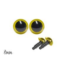 Yeux sécurité jaune 8mm pour peluche (1 paire)
