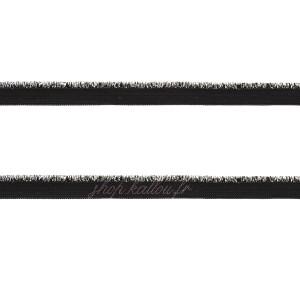 """Elastique """"passepoilé"""" lurex argent, coloris noir , 9mm"""