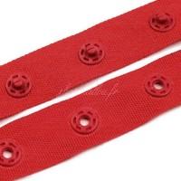 Pressions sur ruban polyester au mètre, coloris rouge