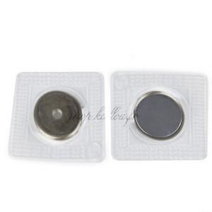 Aimants plat Neodymium 18mm avec trou à coudre, coloris argent