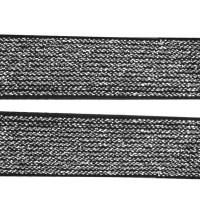 Chute de 20 cm d'Élastique plat noir argenté lurex, 20 mm