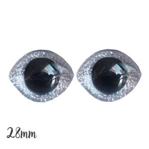 Grands Yeux sécurité ovales pailleté argent 28mm pour peluche, pupille ronde (1 paire)