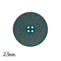 Bouton arabesque gravée, coloris bleu canard - 23mm