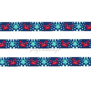 Ruban motif crabe et étoile de mer, fond bleu marine