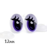 """Yeux sécurité """"cartoon"""" violet 12 x 17 mm pour peluche (1 paire)"""