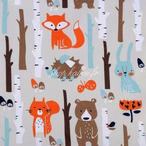 Tissu Bio, motif animaux de la forêt ( x 50cm)