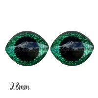Grands Yeux sécurité ovales pailleté vert 28mm pour peluche, pupille ronde (1 paire)