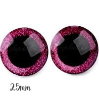 Yeux de sécurité pailleté rose framboise 25mm pour peluche, pupille ronde, rondelle emboitante  (1 paire)